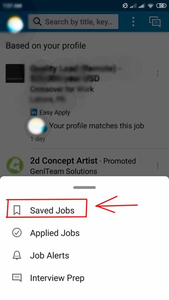 How To find Saved Jobs On LinkedIn Android App